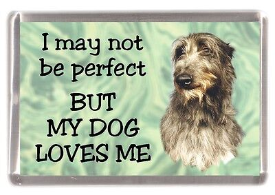 """Deerhound Dog Fridge Magnet  """"I may not be perfect BUT ....."""" by Starprint"""