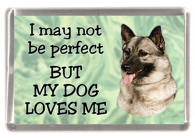 """Elkhound Dog Fridge Magnet """"I may not be perfect BUT ......"""" by Starprint"""