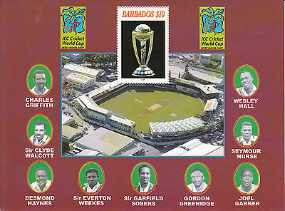 Barbados 2007 MNH ICC World Cup Cricket West Indies 1v Sheet Garfield Sobers