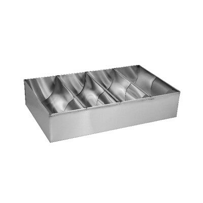 Cutlery Box w 4 Compartments Stainless Steel 430x260x100mm Storage Container NEW
