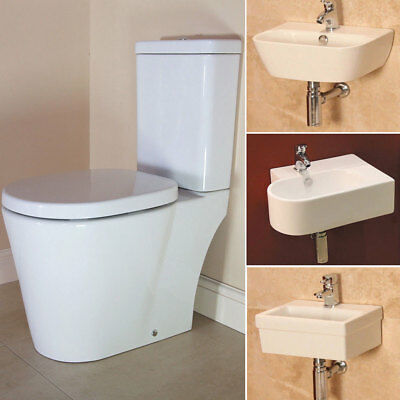 Modern White Ceramic 2 Piece Cloakroom Suite Toilet Compact Wall Hung Basin