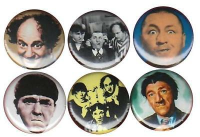 The Three Stooges w/ Larry, Curly, Moe & Shemp: Set of 6 Buttons-Pins-Badges