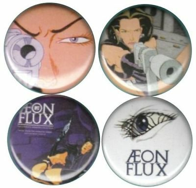 Aeon Flux Set of 4 Buttons Pins-Badges animated