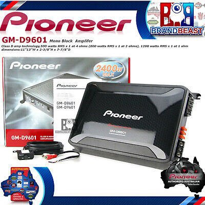 Pioneer GM-D9601 Mono 2400W Class-D Car Amplifier with Bass Boost Remote