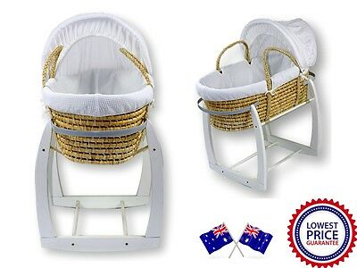 NEW Baby MOSES BASKET / Bassinet and WHITE ROCKING STAND Package
