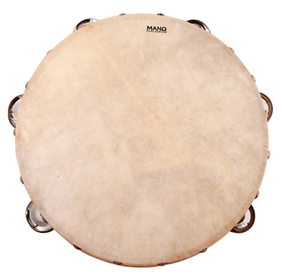 MANO PERCUSSION 10 Inch Wood Tambourine *NEW* Calf Skin Head, Educational