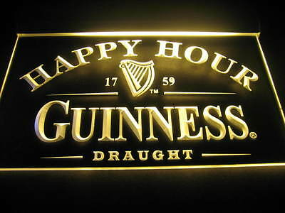 W0305 B Guinness Draught Beer Happy Hour LED Light Sign