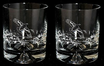 Boxed Pair WHISKY TUMBLER GLASSES with FLYING GROUSE designs *GAME BIRD GIFT*