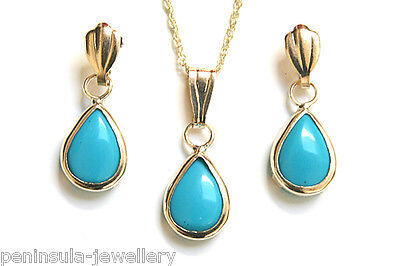 9ct Gold Turquoise Teardrop Pendant and Earring Set Boxed Made in UK