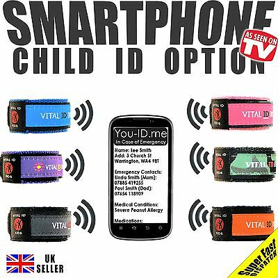 Child Safe Vital ID Wristband. Medical Identity Bracelet Allergy Asthma Diabetic