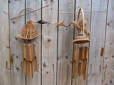 Hand Made Wooden Wood Bamboo Coconut Dragon Vulture Windchime Wind Chime Mobile