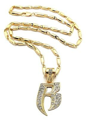 "New Iced Out RUFF RYDERS /'R/' Pendant /&5mm//24/"" Figaro Chain Necklace XZ95FC"