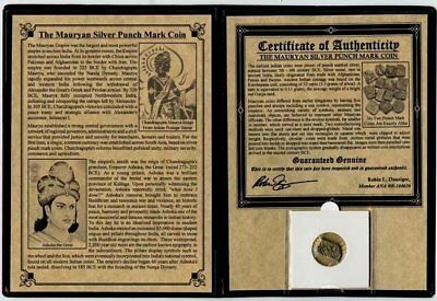 Mauryan Silver Punch Mark Coin. Certified Authentic. Over 2000 Years Old!