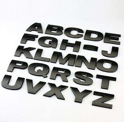 1pc Car styling Metal letters car sticker badge DIY Auto decal nameplate-Black