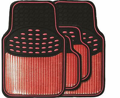Black & Metallic Red Heavy Duty Thick Rubber Revelation Interior Car Floor Mats