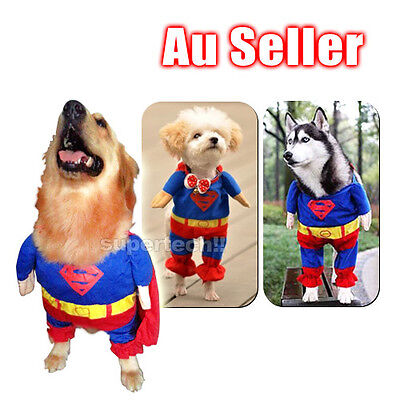 Pet Cat Dog Coat Jacket Puppy Cotton Clothes Costumes Superman Suit size XS-XL