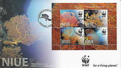 Niue 2012 FDC Giant Sea Fan 4v Sheet First Day Cover WWF Annella Mollis