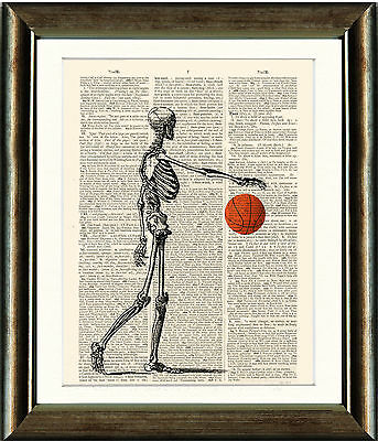 Old Book page Art Print - Skeleton with Basketball on recycled dictionary