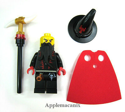 Lego New Black Torso Castle Dragon Wizard with Lace-up Shirt Red Trim Piece