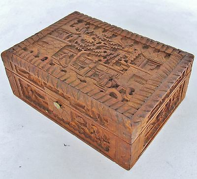 "4.95"" Antique Chinese Export Carved Wood Trinket Box w/ Scholars, Trees & Pagoda"