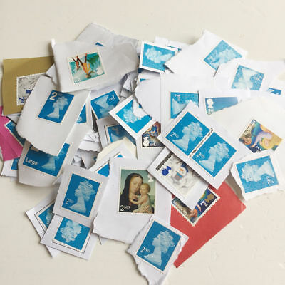 100 x 2nd Class GB Unfranked Postage Stamps on paper Face Value £58