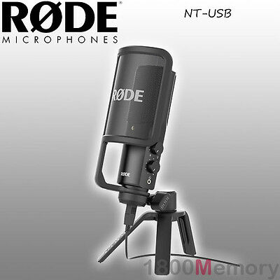 Rode NT-USB Versatile Studio Microphone Mic Cardioid Stand + Pop Filter Mac & PC