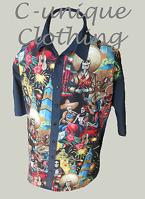 C-unique Mens Black Mexican Skeleton Rockabilly Psychobilly Lounge Diner Shirt