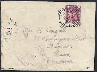 Cape of Good Hope 1901 cens Boer-Warcover CERES to Brighton