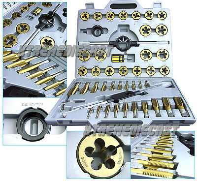 LARGE 45 PC STANDARD SIZE SAE NC NF TUNGSTEN STEEL TAP and DIE TOOL TITANIUM