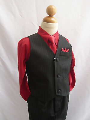 Black Apple Red Toddler Teen Boys Set Vest With Long Tie Tuxedo Formal Suit Set