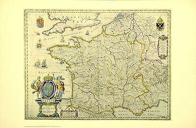 France 17th Century Historical Map Out Of Print from NYC Public Library Edition