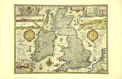 Ireland Scotland Great Britain 17th Century Map OOP Original NYC Public Library
