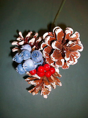 PINE CONE CHRISTMAS WREATH DECORATION PIC Pinecones Blueberries/Red Berries