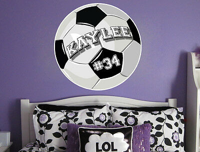 Personalized Soccer Ball Vinyl Wall Decal Sticker Custom Colors!