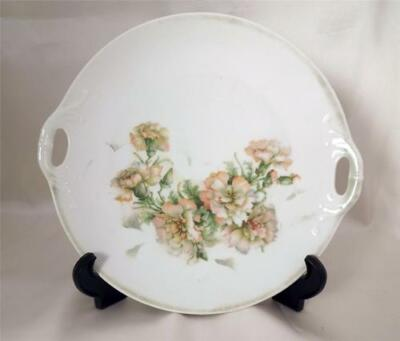 THREE CROWN CHINA VINTAGE DOUBLE HANDLED PLATE FLOWER MOTIF GERMANY 1900-1920s
