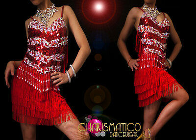 d763381614f8 CHARISMATICO Exotic Crystal and ruby accented Red Fringe Latin Dance Dress