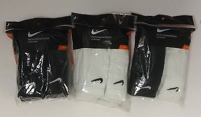 Nike Crew Performance Socks 6 pair Black White M Wo's 6~10 Men 6~8 SX4434 SX5171