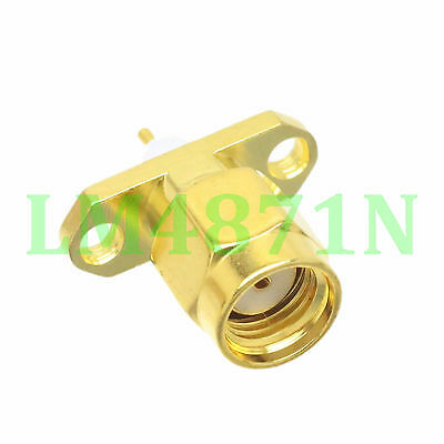 1pce Connector RP.SMA male jack 2-hole 16mm flange solder panel mount straight