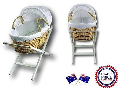 NEW Baby MOSES BASKET / Bassinet and WHITE CLASSIC X STAND Package