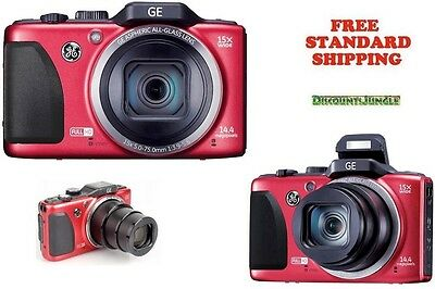 """New GE G100 HD Digital Camera,14MP,15X Optical Zoom,3"""" LCD,28mm Wide lens RED"""