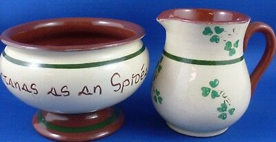 Vintage CARRIG WARE Ireland (2 Pc) KILLARNEY SHAMROCK Pottery Duo VG - In Aust