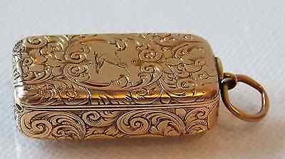 Extremely Rare C.1857 Victorian 15Kt Gold Combination Vesta Case / Pill Box