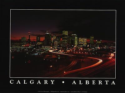 CITYSCAPE POSTER~Calgary At Night Flames Art Province of Alberta Print Beautiful