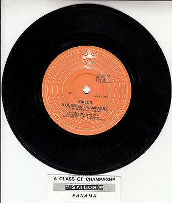 "SAILOR  A Glass Of Champagne 45 rpm 7"" vinyl record + juke box title strip"