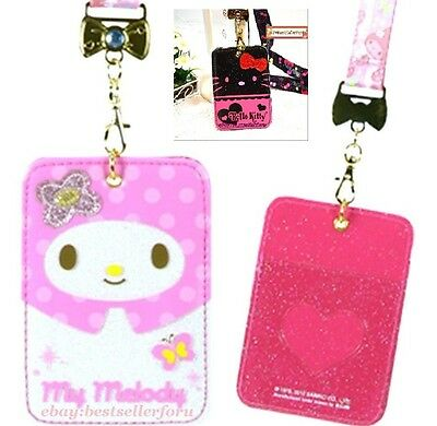 GLITTER Cover Sanrio Business Credit ID Card Pass Case Badge Holder w/Neck Strap
