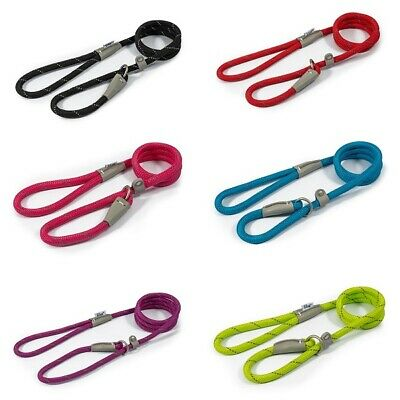 NEW Ancol Soft Strong Nylon Slip Rope Dog Lead Red Black Blue Pink Green Brown