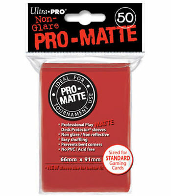 50 Count Red Ultra Pro Matte Deck Protector Card Sleeves Non-Glare Pokemon MTG