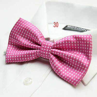 MENS Luxury 2 Layer BRIGHT PINK & WHITE Polka Dot Dickie Bow Tie Adjustable NEW