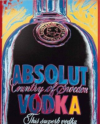 Andy Warhol Absolut Vodka Quadro Stampa Su Tela Canvas 60X70 Pop Art Moderno Bar