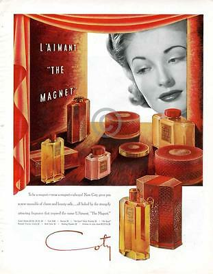 1939 Coty Perfume COLOR AD L'Aimant The Magnet